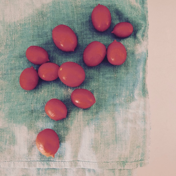Tomatoes on Green Cloth by Jens Haas